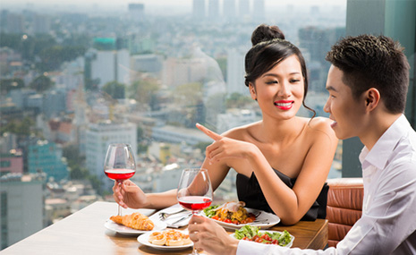 asian couple talking